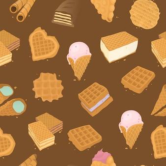 Voedsel heerlijk dessert, illustratie van het wafel de naadloze patroon. zoet lekker gebak, kegel met crème achtergrond.