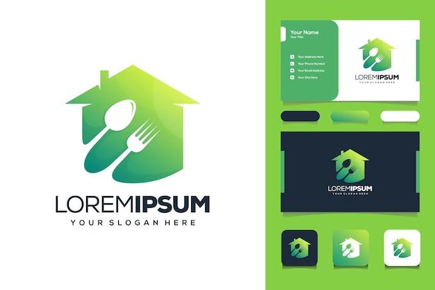 Voedsel huis logo ontwerp visitekaartje