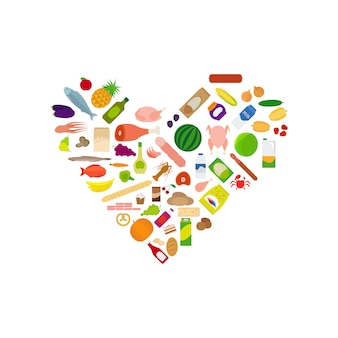 Voedsel iconen collectie in hartvorm