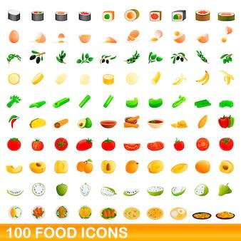 Voedsel iconen set, cartoon stijl