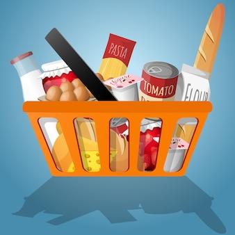 Voedsel in het winkelen mandillustratie