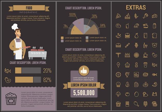 Voedsel infographic sjabloon, elementen en pictogrammen