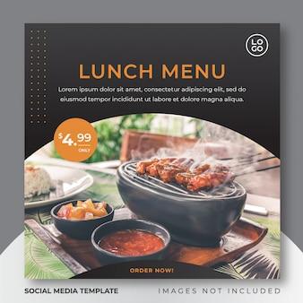 Voedsel instagram post sociale media sjabloon voor culinair restaurantmenu