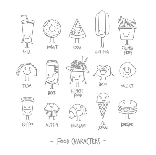 Voedsel karakters Premium Vector
