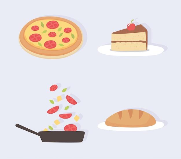 Voedsel keuken plak cake pizza brood groenten in steelpan pictogrammen