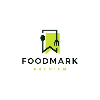 Voedsel lepel vork bladwijzer restaurant logo vector pictogram illustratie