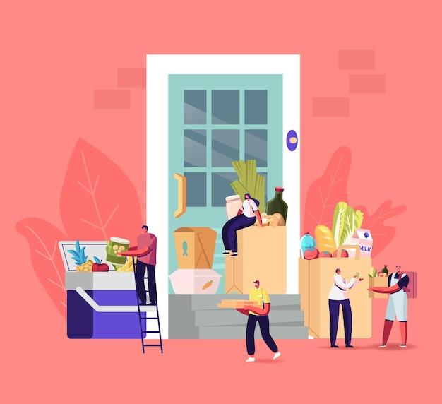 Voedsel levering concept. kleine koerierspersonages staan voor een enorme klantdeur met papieren zakken vol met kruidenierswaren en gekookte maaltijdproducten. cafe of winkel verzendservice. cartoon mensen vectorillustratie