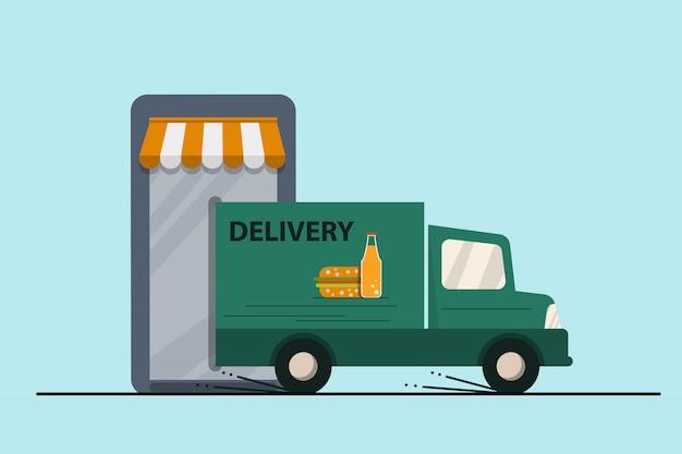 Voedsel levering concept. smartphone e-commerce concept. e-marketing, app store, bestelwagen. voorraad vectorillustratie.
