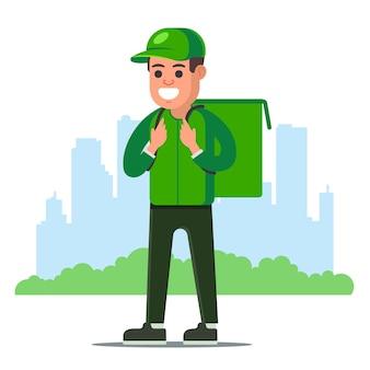 Voedsel levering man in groen uniform op de achtergrond van een stad. karakter illustratie.