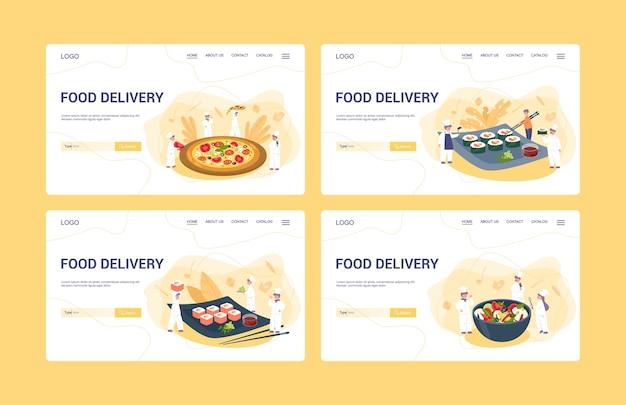 Voedsel levering menu web banner set. europese en aziatische keuken. lekker eten voor ontbijt, lunch en diner. levering van eten.