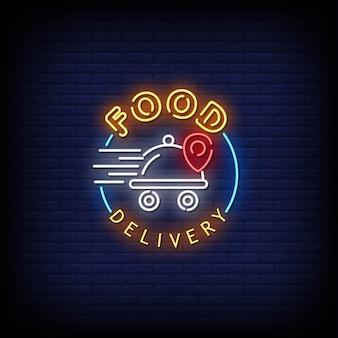 Voedsel levering neonreclames stijl tekst