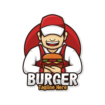 Voedsel logo chef-kok man met hamburger mascotte