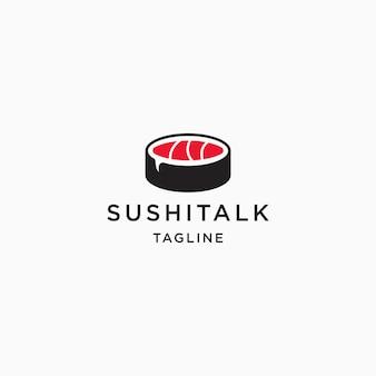 Voedsel logo sushi en chat pictogram ontwerpsjabloon