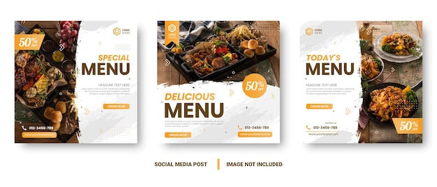 Voedsel menu banner sociale media plaatsen. bewerkbare social media-sjablonen voor promoties op het menu voedsel. set van verhaal- en postframes op sociale media. lay-outontwerp voor marketing op sociale media.