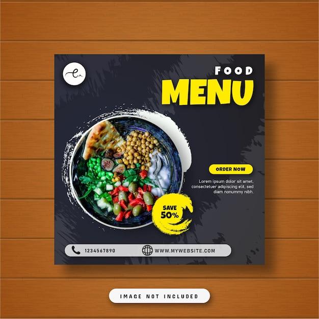 Voedsel menu banner sociale media plaatsen