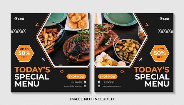 Voedsel menu sociale media post sjabloon voor spandoek