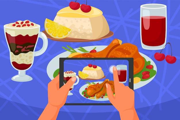 Voedsel mobiele foto, telefoon in hand illustratie. smartphone-fotografie door camera, restaurantlunch op lijst. afbeelding