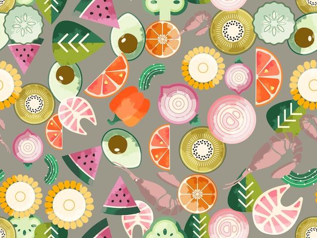 Voedsel naadloos patroon