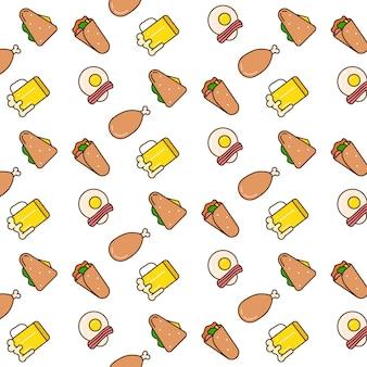 Voedsel naadloos patroonontwerp