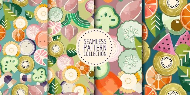 Voedsel naadloze patronen collectie
