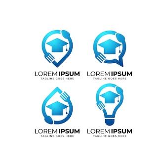 Voedsel onderwijs logo ontwerpset