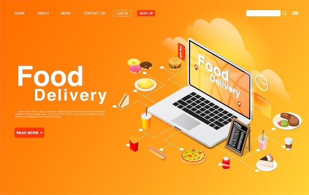 Voedsel online bestellen op computerdesktop