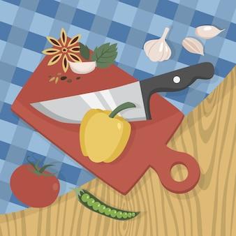 Voedsel op het houten bord snijden met een scherp mes. verse peper en tomaat. bereid een gezonde maaltijd in de keuken. illustratie