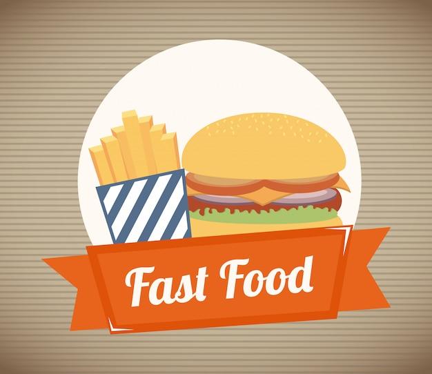 Voedsel over rechte lijn illustratie