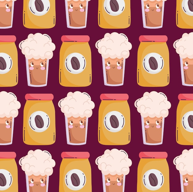 Voedsel patroon grappige happy cartoon koffiefles en smoothies vector illustratie