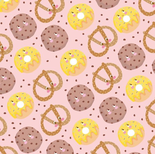 Voedsel patroon koekje krakeling en donuts grappige happy cartoon vectorillustratie