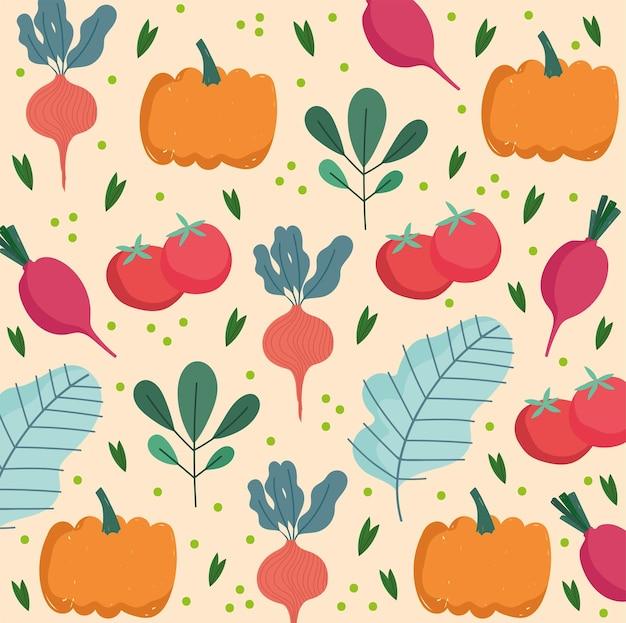 Voedsel patroon, pompoen radijs tomaten blad natuur biologische groenten illustratie