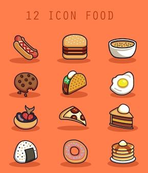 Voedsel pictogram met platte ontwerpconcept