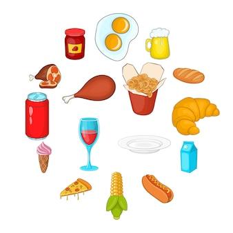Voedsel pictogrammen instellen in cartoon stijl