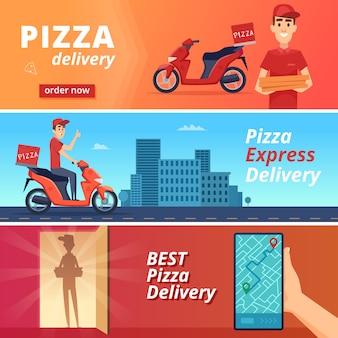 Voedsel pizza levering banner. postal koerier leveren man rit op fiets vector teken in cartoon-stijl