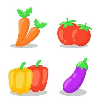 Voedsel plantaardige plat pictogrammen collectie.