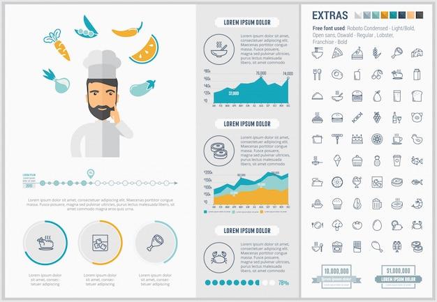 Voedsel platte ontwerp infographic sjabloon en pictogrammen instellen