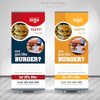 Voedsel roll-up banner design voor restaurant