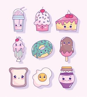 Voedsel schattig frappe cupcake ijs ei brood donut dessert cartoon pictogrammen