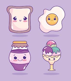 Voedsel schattig gebakken ei brood en ijs in glas cartoon