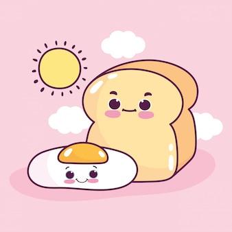 Voedsel schattig ontbijt gebakken ei en brood cartoon