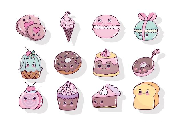 Voedsel schattig snoep zoete donut koekje koekje ijstaart cupcake cartoon iconen