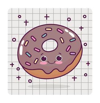 Voedsel schattige chocolade donut liefde hart cartoon