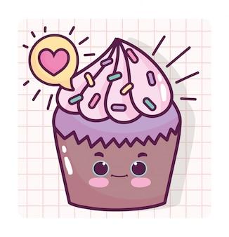 Voedsel schattige zoete cupcake liefde hart cartoon