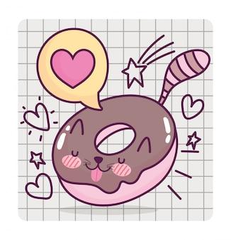Voedsel schattige zoete donut vormige kat cartoon op raster achtergrond