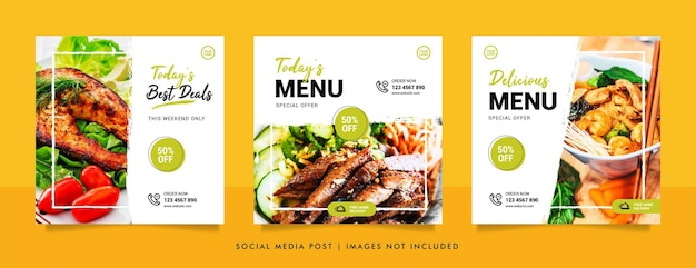 Voedsel sociale media post en promotie banner ontwerpsjabloon