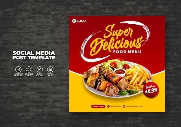 Voedsel sociale media promotie en banner menu sjabloon