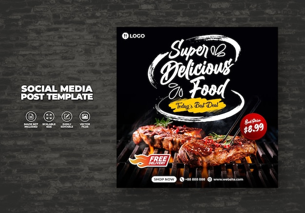 Voedsel sociale media promotie en gratis banner menu post design sjabloon