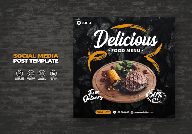 Voedsel sociale media promotie en restaurant menu banner post gratis design sjabloon