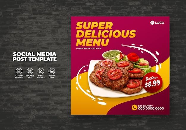 Voedsel sociale media promotie en restaurant menu banner sjabloon