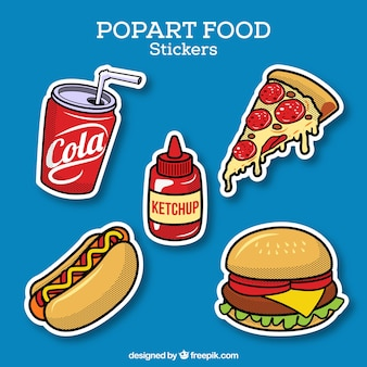 Voedsel stickers met pop art stijl